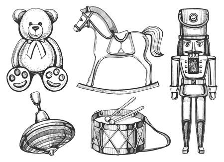 Vintage toys set: bear, rocking horse, nutcracker, drum, yule. Vintage hand drawn style.