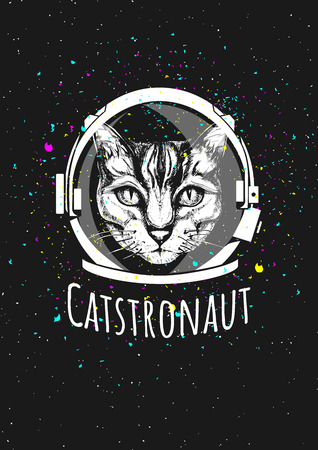 Illustration of a cat astronaut in cosmic helmet surrounded by the space and stars. Ink hand drawn illustration.