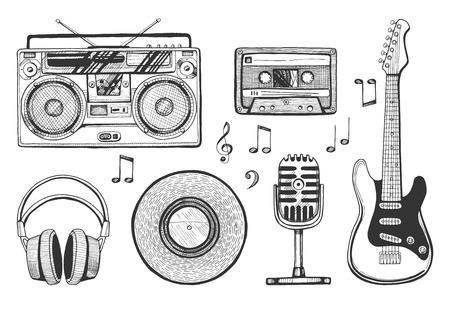 Vector illustration of a hand drawn music objects icons set. Boombox player, headphones or earphones, microphone, electric guitar, vinyl platter, cassette, notes, treble and bass clef.