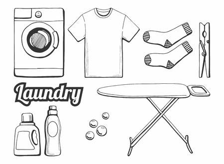 Vector illustration of a laundry icons set. Different objects: ironing board, t-shirt, soap bubbles, washing machine, washing chemicals bottles as gel and softener, socks, clothespin. Illusztráció