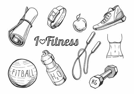 Illustrazione di vettore delle icone degli oggetti di una forma fisica messe. Tappetino yoga, braccialetto cardio, mela, scarpe da ginnastica, fitball, bottiglia d'acqua, corda per saltare, bilanciere, icone disegnate a mano corpo in forma. Archivio Fotografico - 93344780