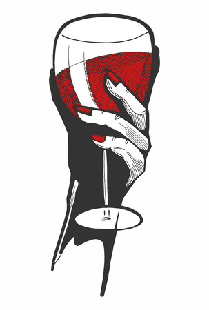 Vector illustration of a woman hand with a glass of red wine. Hand drawn style with a color underlay. Stok Fotoğraf - 93344782