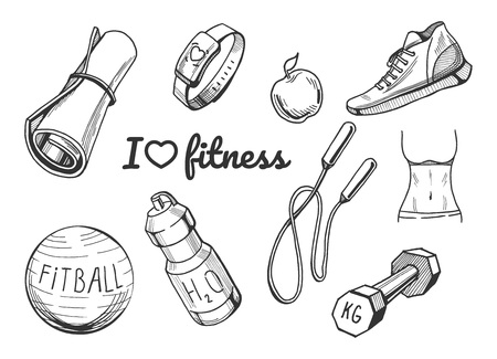 Vector illustration of a fitness items icons set. Yoga mat, cardio bracelet, apple, sneakers, fitball, water bottle, jumping rope, barbell, fit body hand drawn icons.