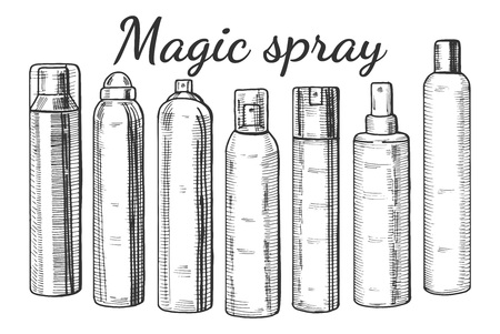 Vector hand drawn illustration of a different spray bottles. Hair, body sprays, face toner, body mist, thermal water packaging. Illustration