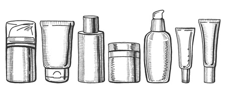 Vector hand drawn illustration of a different cream bottles. Hair balm, face and body creams, face toner, body mist, cosmetics packaging