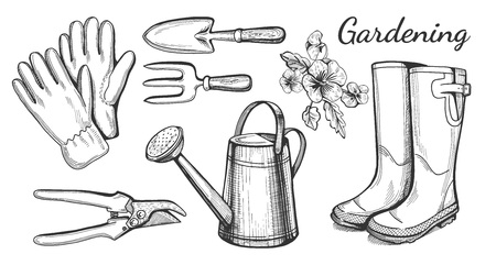 Vector illustration of a hand drawn gardening and agriculture related objects: gloves, pruner, rain boots, fork and trovel, watering can, pansy flowers.
