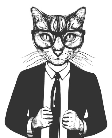 Vector illustration of a cat in suit and glasses. Successful businessman character in hand drawn vintage style.