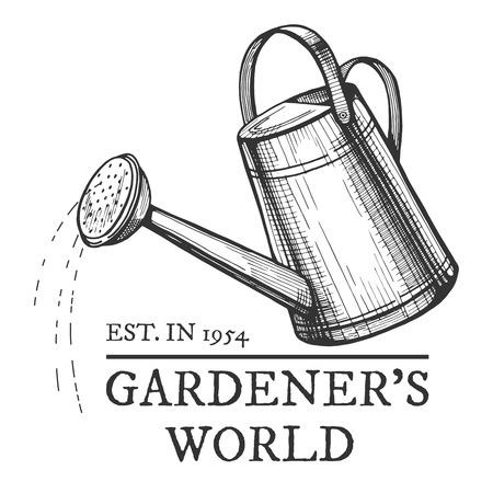 Vector vintage emblem. Gardeners world. Watering can with spilling water hand drawn object.