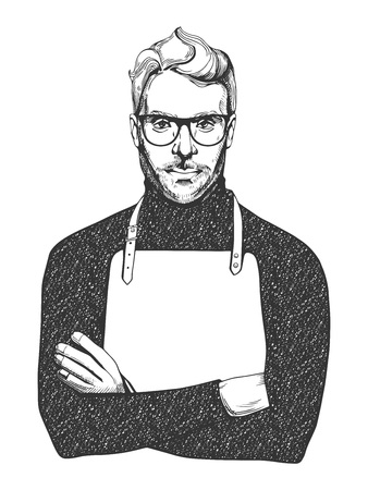 Vector illustration of ink drawn man in glasses and apron. Close-up portrait of a chef or woodworker in hand-drawn vintage style.  Иллюстрация