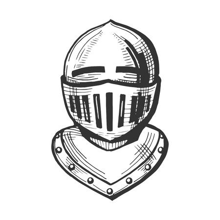 Vektor mittelalterliche Ritter-Symbol. Gezeichnetes Illustrationsemblem des Mittelalters Hand in der Weinleseart. Standard-Bild - 94780039