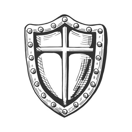 Vektor mittelalterliche Ritter Schildsymbol. Gezeichnetes Illustrationsemblem des Mittelalters Hand in der Weinleseart. Standard-Bild - 94780038