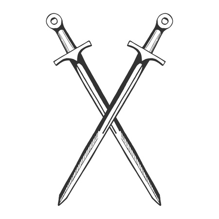 Vektor mittelalterliche Ritter gekreuzte Schwerter-Symbol. Gezeichnetes Illustrationsemblem des Mittelalters Hand in der Weinleseart. Standard-Bild - 94780040
