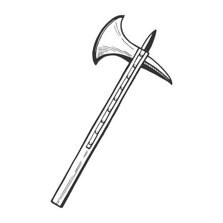 Vector mittelalterliche Ritter Axt Symbol . Mittelalter Hand gezeichnete Illustration Emblem im Vintage-Stil Standard-Bild - 94780057