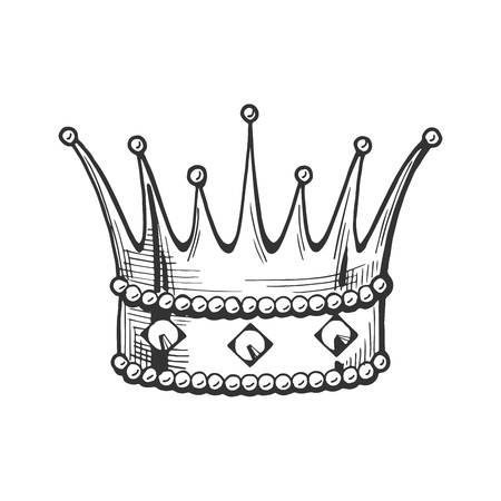 Vector medieval king crown icon. Middle age hand drawn illustration emblem in vintage style.