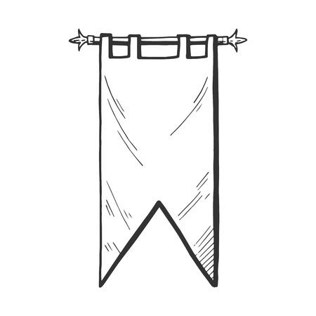 Icône de vecteur de bannière ou drapeau médiéval. Moyen âge emblème illustration dessiné à la main dans un style vintage. Vecteurs