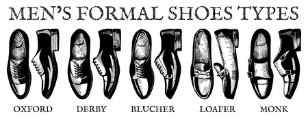 Vector illustration of mens formal suit shoes: oxfords, derby, bluchers, loafers, monks. Ultimate guide in vintage drawing style.
