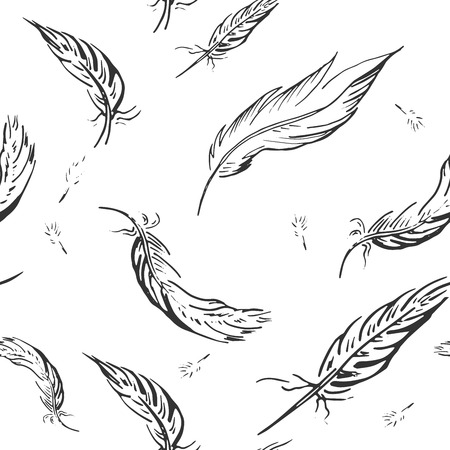 Vector illustration of black and white feather pattern in hand drawn style.