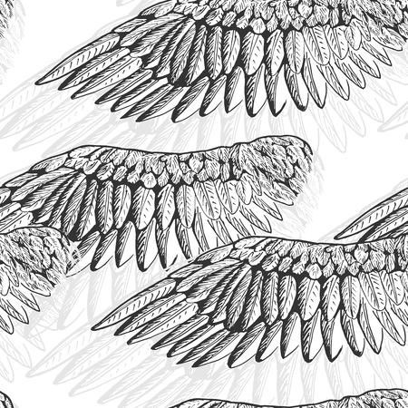 Vector illustration of black and white wings pattern in hand drawn style.