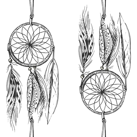 Vector illustration of black and white dream catcher pattern in hand drawn style. Vettoriali