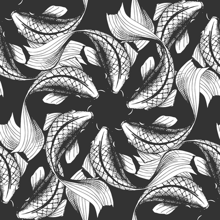 Vector illustration of a koi fish seamless pattern. Black and white handdrawn style.