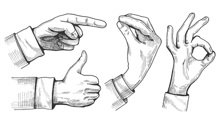 Vector illustration of a set of male hand gestures. Pointing finger, like or thumb up, Italian gesture and ok sign. Hand drawn vintage engraving style. Vectores