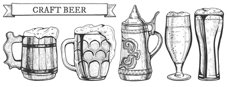 Beer glass types vector illustration. Wooden and glass mug, ceramic German stein, weizen and tulip glasses. Hand drawn style, banner ribbon with craft beer inscription.