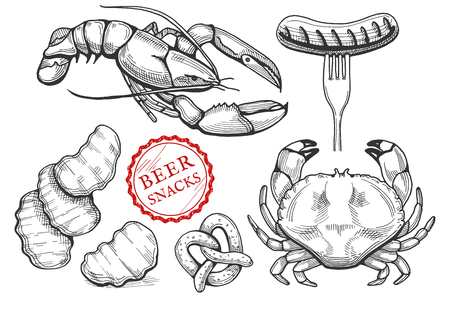 Different beer snacks set in a hand drawn vintage engraving style. Lobster, crisp wavy chips, pretzel cracker, crab, sausage on a fork vector illustration.
