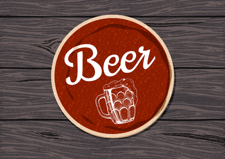 Red round beer coaster on a rough oak wooden table vector illustration. Stock Illustratie