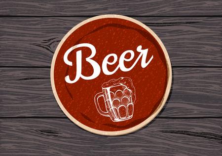 Rode ronde bieronderlegger voor glazen op een ruwe eiken houten lijst vectorillustratie. Stockfoto - 96248442
