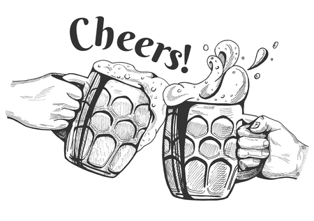 Beer mugs cheers clinking in a hand drawn vintage engraving style vector illustration.