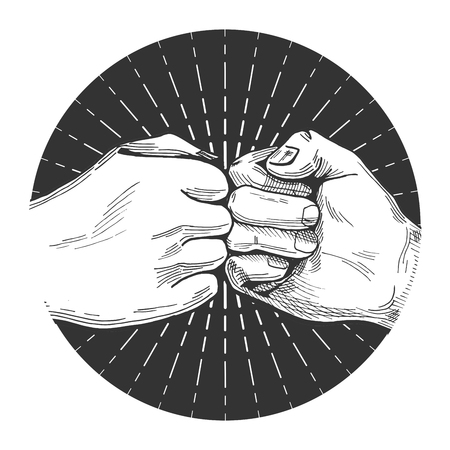 Vector illustration of a dynamic fist bump in a hand drawn vintage style
