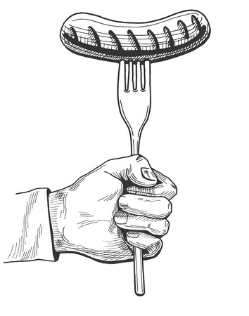 Vector illustration of a hand holding a sausage on fork. Hand drawn vintage engraving style