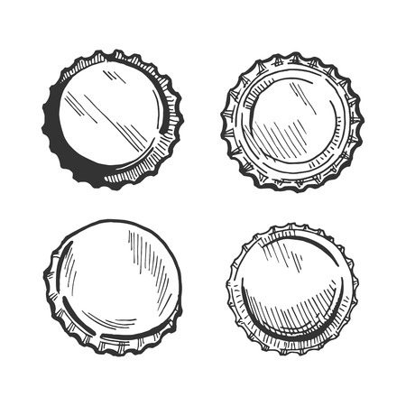 Beer bottle cap or lid from different angles vector illustration. Top view, upside down, three quarters. Illustration