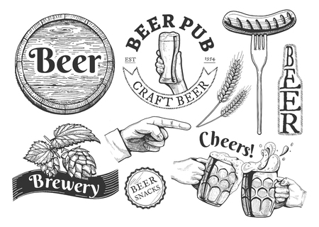 Beer emblems, labels set vector illustration,, pub, craft, brewery, snacks, cheers inscriptions. Barrel, hand with glass, sausage on fork, wheat, bottle, pointing finger, lid, hop, clinking stein drawings. Hand vintage engraving drawn style.