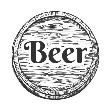 Beer barrel emblem or label vector illustration. Hand drawn vintage engraving style.