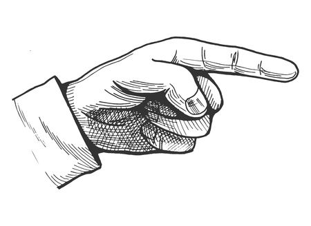 Vector illustration of a hand drawn pointing finger gesture showing direction. Vintage engraving style pointer. Çizim