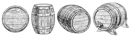 Illustrazione vettoriale di botte o botte da un angolo diverso. Anteriore, superiore, tre quarti. Barrel su un supporto con un rubinetto. Stile disegnato a mano