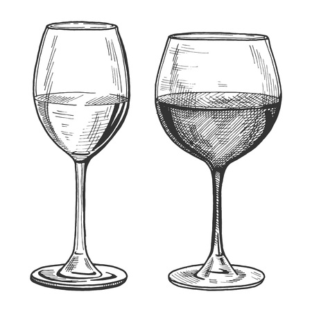 Vector illustration of a white and red wine glasses in hand drawn vintage engraving style.