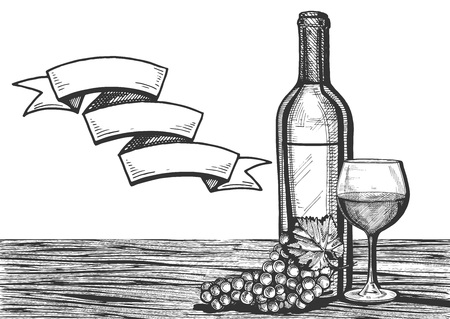 Vector illustration of a wine glass, bottle and grapes bunch on a wooden surface still life. Empty banner ribbon for your text. Vintage engraving style.