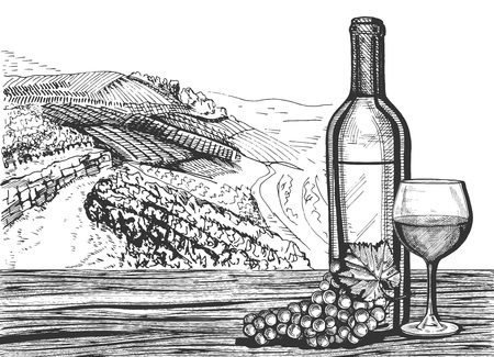 Vector illustration of a wine glass, bottle and grapes bunch on a wooden surface still life. Winery vineyard landscape in vintage engraving style. 向量圖像