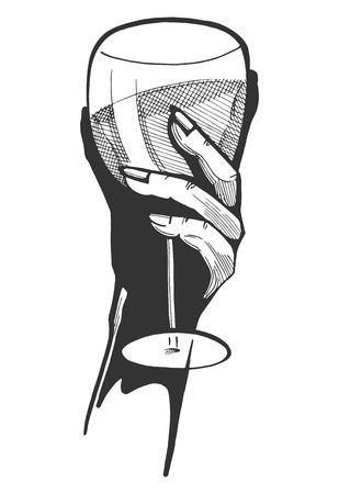 Vector monochrome illustration of a woman hand with a glass of wine. Hand drawn vintage engraving style.