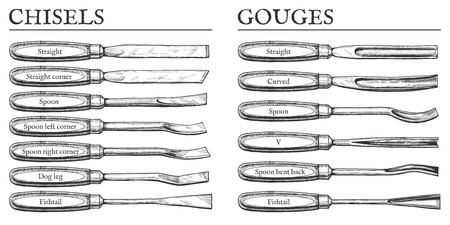 Vector illustration of chisels and gouges types set. Straight, corner, spoon, dog leg, fish tail, fishtail, V, curved, bent back blades. Vintage engraving style.