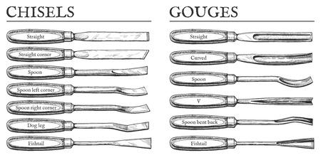 Vector illustration of chisels and gouges types set. Straight, corner, spoon, dog leg, fish tail, fishtail, V, curved, bent back blades. Vintage engraving style.