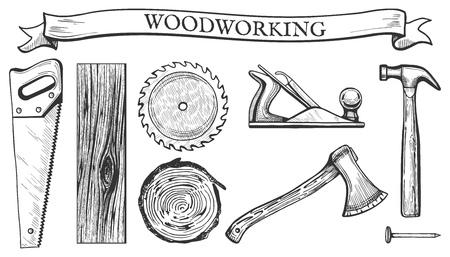 Vektorillustration von Gegenständen einer Holzbearbeitung stellte ein: Handsäge, Kreismesser, Holzplatte, Brett, Baumquerschnitt, Hobelwerkzeug, Hammer, Axt, Nagel. Gezeichnete Weinlesestichart der Zimmereiwerkzeuge in der Hand. Vektorgrafik