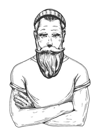 Vector illustration of a man with full beard portrait in a knitted beanie hat and white t-shirt with rolled up sleeves.