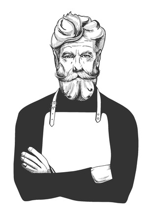 Vector illustration of an attractive man in age with a full beard and mustache wearing apron. Illustration