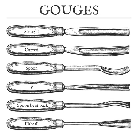 Vector illustration of gouge types set. Straight, curved, spoon, V, bent back, fish tail, fishtail blades. Vintage engraving style Illusztráció
