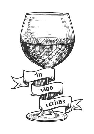 ラテン語の碑文とリボンを持つ赤ワイングラスのベクターイラストは、ワインが真実であることを意味するビノベリタスで言います。ヴィンテージハンド描き江スタイル。 写真素材 - 97570659