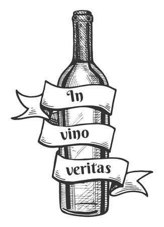 라틴어 말하기의 비문 비문 주위와 리본 와인 병의 벡터 일러스트 레이 션은 와인 의미는 진실입니다. 빈티지 손으로 그린 조각 스타일.