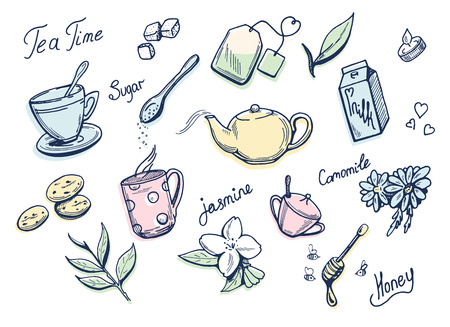 Vector illustration of a sweet tea related doodle drawings with tender colorful underlays. Cup, bag, jasmine, camomile, honey, sugar, leaves, milk, candle, cookies. Ilustracja